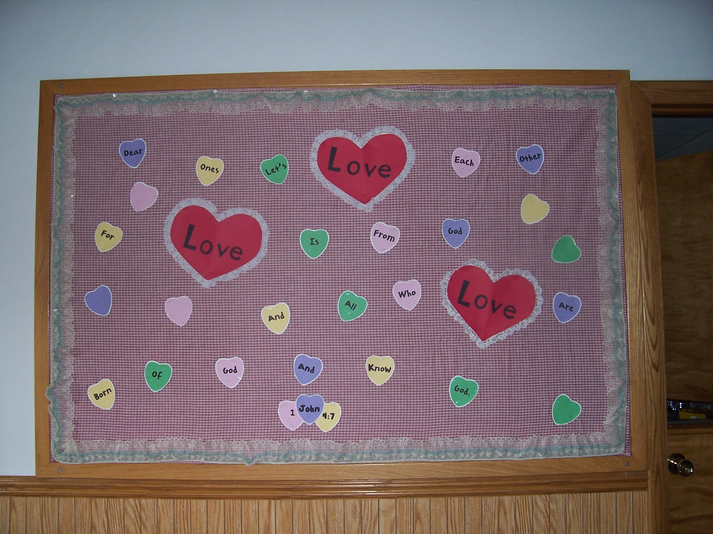 February conversation heart bulletin board shoestring for Heart shaped bulletin board